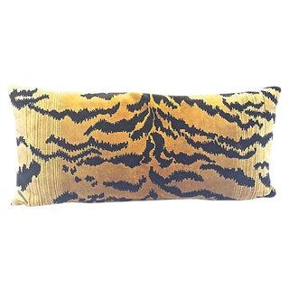 Velvet Tiger Stripe Lumbar Pillow