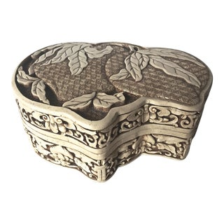 Faux Ivory Carved Cinnabar Box