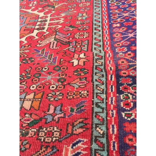 "Vintage Heriz Persian Red Runner - 4'6"" x 12'3"" - Image 7 of 11"