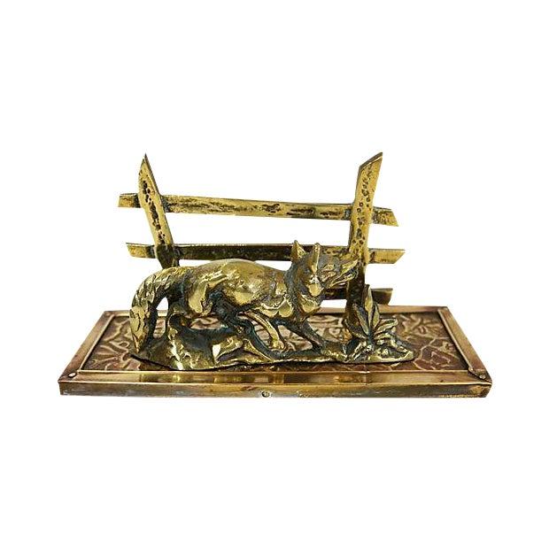 Antique Brass Fox Letter Holder - Image 1 of 6