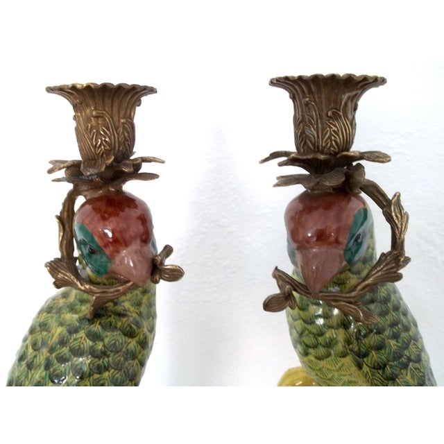 Vintage Green Parrot Candle Holders - a Pair - Image 4 of 5