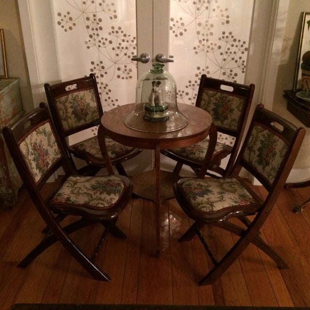 Vintage Victorian Style Campaign Parlor Chairs - Set of 4 - Image 7 of 11