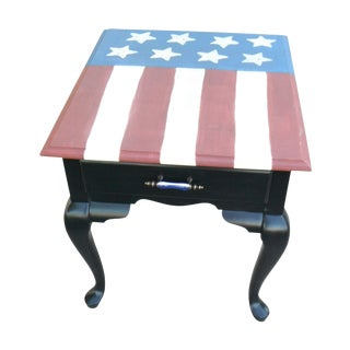 Hand Painted American Flag Side Table
