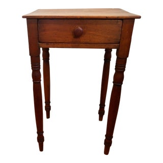 19th C. Country Sheraton Single Drawer Side Table