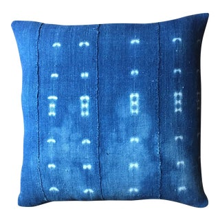 Denim Blue Mudcloth Pillow Cover