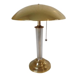 Hollywood Regency Brass & Lucite Desk Lamp