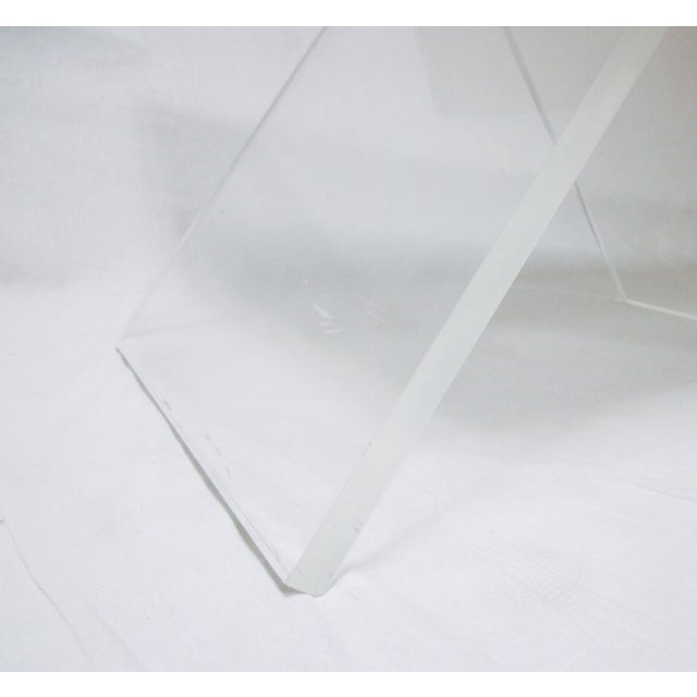 Lucite Base Coffee Table with Marble Top - Image 5 of 11