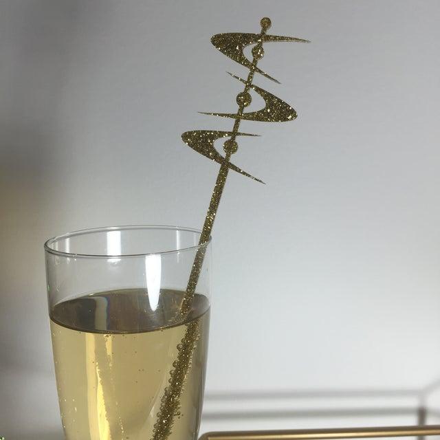 Image of Gold Glitter Midcentury Boomerang Drink Stirrers