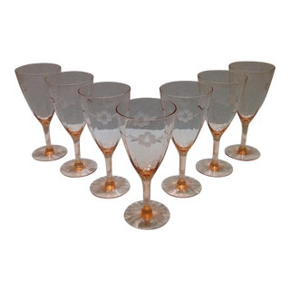 Vintage Pink Optic Crystal Goblets - Set of 7