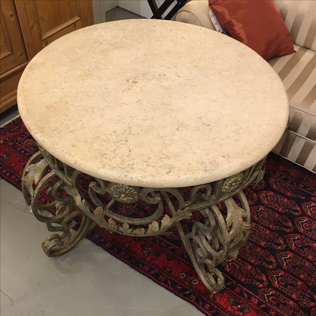 Travertine Top & Gilded Cast Metal Foyer Table - Image 4 of 8
