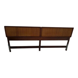 Mid-Century Walnut & Cane King Headboard Bed Frame
