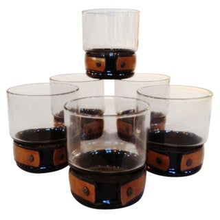 Banded Smoked Glass Rocks Glasses - Set of 6