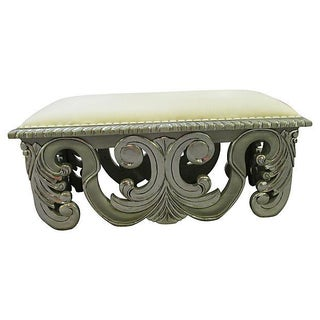 Ornate Silver Bench w/Leather Cushion