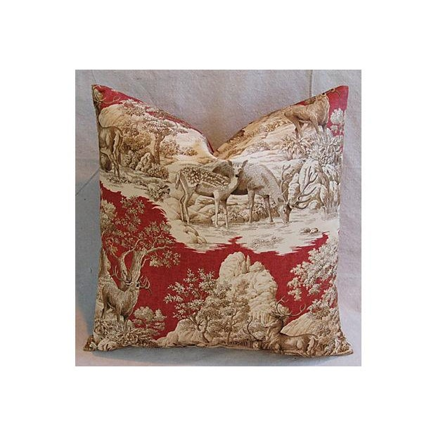 Designer French Woodland Deer Toile Pillows - Pair - Image 6 of 8