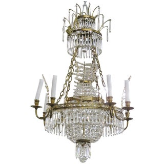Russian Baltic Style Bronze & Crystal Chandelier