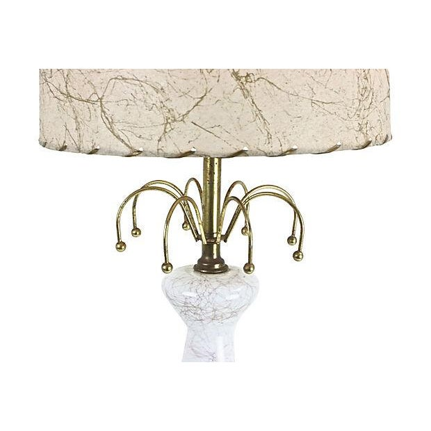 1950s Glass Lamp & Fiberglass Shade - Image 5 of 6