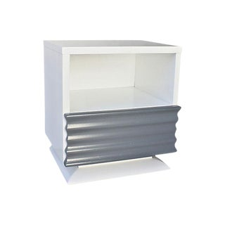 White & Gray Lacquered Nightstand