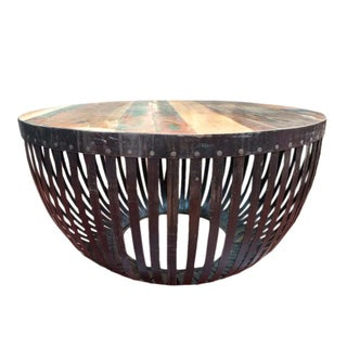 Round Iron & Reclaimed Wood Coffee Table