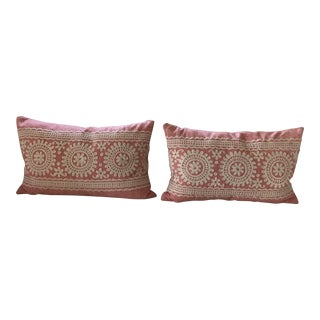 Coral Embroidered Lumbar Pillows- A Pair