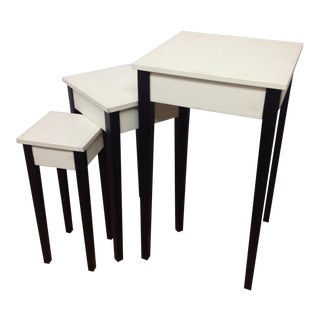 Lacquer & Leather Nesting Tables - Set of 3