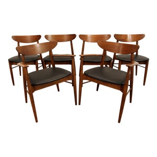 Mid-Century Walnut Curved Back Dining Chairs - Set of 6
