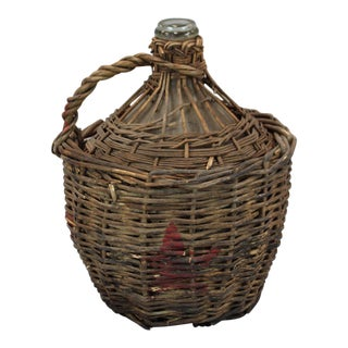 Vintage Wine Bottle in Original Basket
