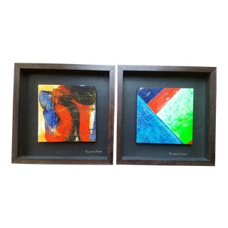 Framed Contemporary Abstract Paintings - A Pair