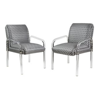 Charles Hollis Jones Style Lucite Armchairs - A Pair