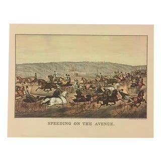 Horse Race Lithograph Print