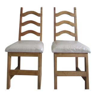 Natural Wood Side Chairs - A Pair