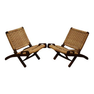 Hans Wegner Style Children's Folding Chairs - a Pair