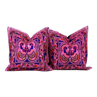 Pink Embroidered Bohemian Pillow - A Pair