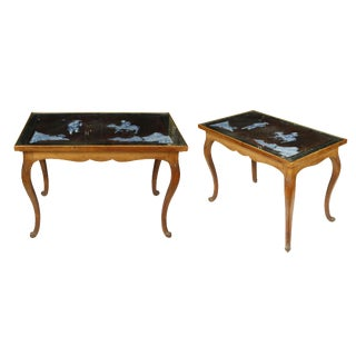 French Chinoiserie Fruitwood Tables - A Pair