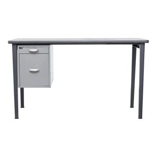 Grey Industrial Metal Desk with Drawers