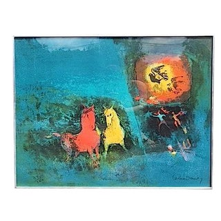 Untitled Lithograph, Horses and Birds by Lebadang