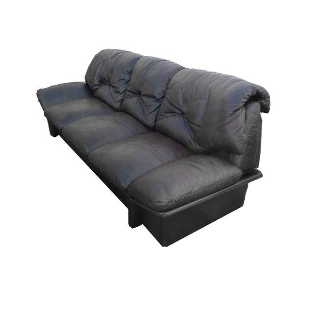 Mid-Century Minimalist Black Leather Italian Sofa - Image 7 of 9