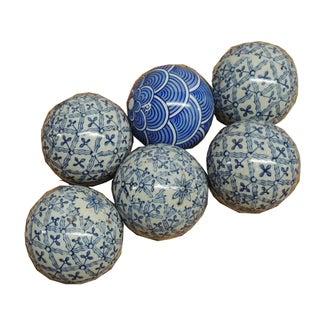 Vintage Asian Ceramic Hand-Painted Balls - Set of 6