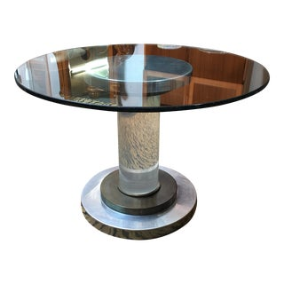 Vintage Lucite, Copper & Nickel Pedestal Dining Table