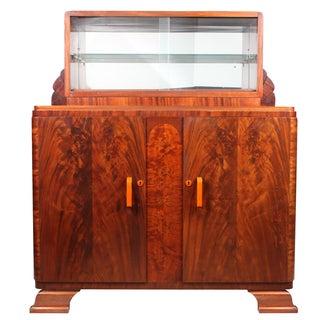 Flame Mahogany Art Deco Liquor Cabinet
