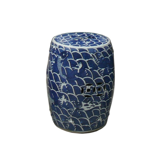 Blue And White Porcelain Round Fishes Stool Table - Image 4 of 6