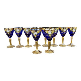 Bohemian Hand Painted Cobalt Blue Cordial Glasses - Set of 10
