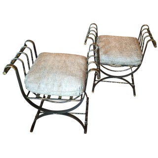 Burnished Brass Curule Throne Benches - A Pair