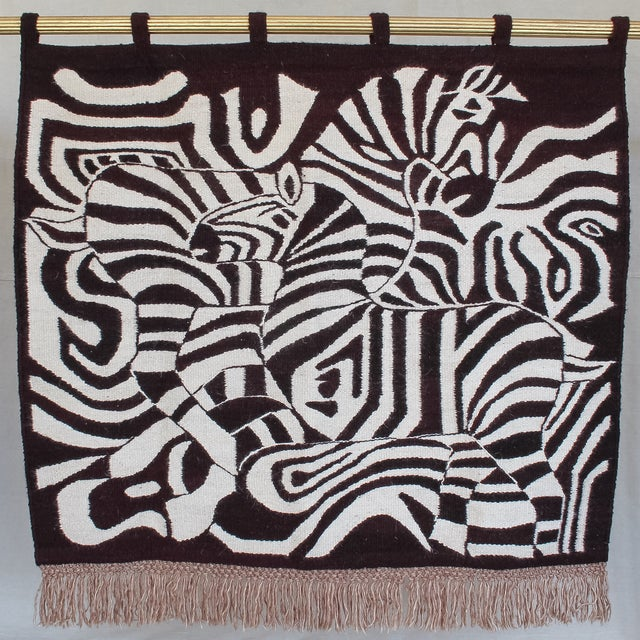 Large African Mohair Zebra Wall Hanging - Image 2 of 11