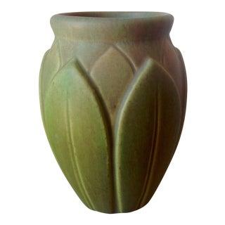 Early Roseville Velmoss Artichoke Vase in Multiple Shades of Green