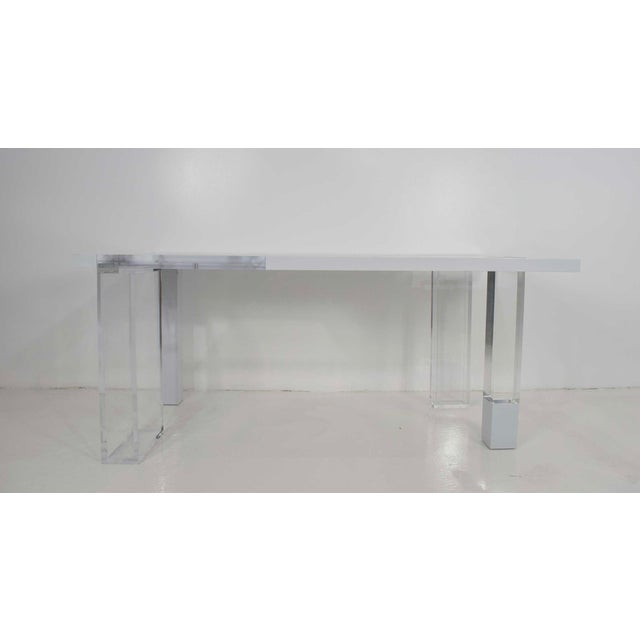 Unique Signed Lucite and White Lacquer Desk or Table - Image 3 of 10