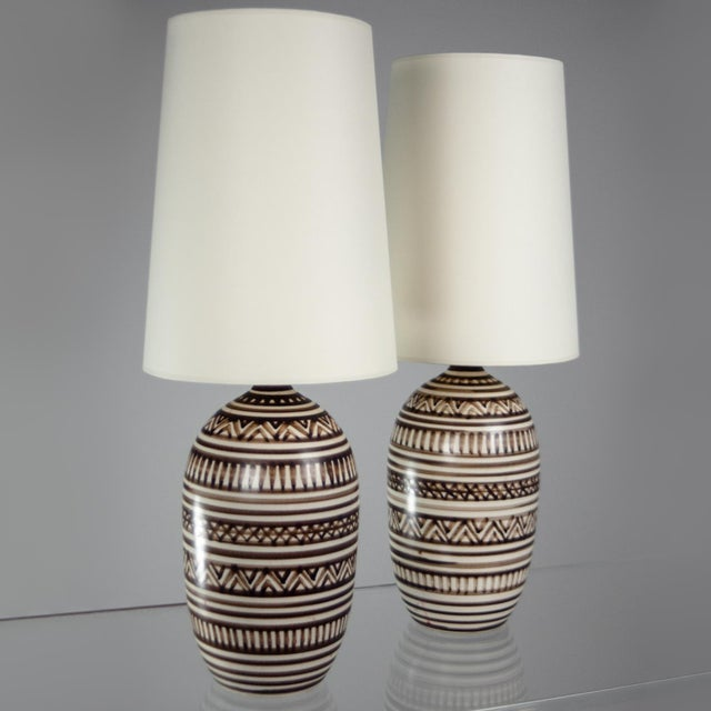 Image of Tribal Lotte Stoneware Table Lamps - A Pair