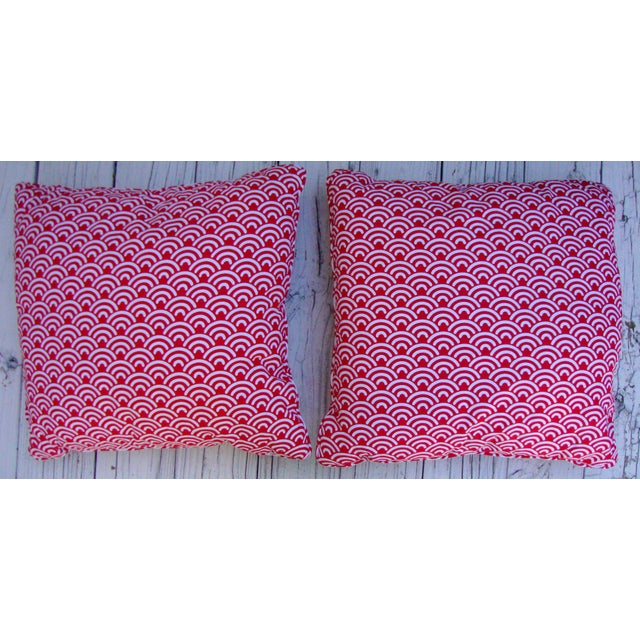 Custom Red White Modern Designer Pillows - A Pair - Image 2 of 7
