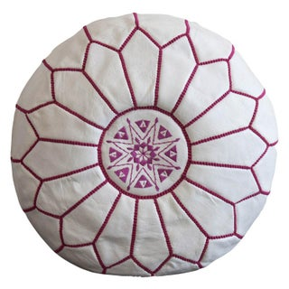 White and Magenta Leather Pouf