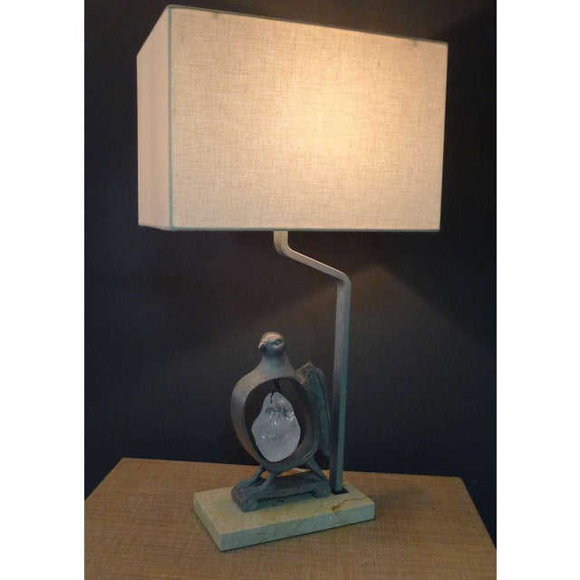 Image of Paul Marra Cast Bronze Rock Dove Lamp in Silvered Bronze