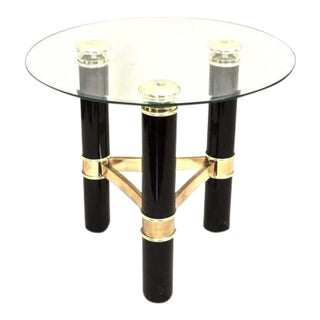 Mid-Century Black & Gold Glass-Top Table